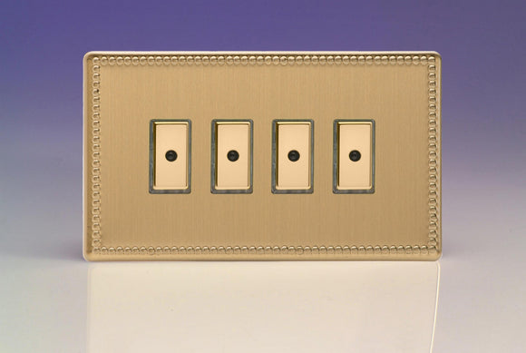 Varilight JDYE104S.JB Jubilee Brushed Brass 4-Gang Multi-Way Remote/Tactile Touch Control Master LED Dimmer 4 x 0-100W (1-10 LEDs)