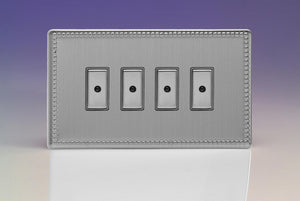Varilight JDYE104S.JS Jubilee Brushed Steel 4-Gang Multi-Way Remote/Tactile Touch Control Master LED Dimmer 4 x 0-100W (1-10 LEDs)