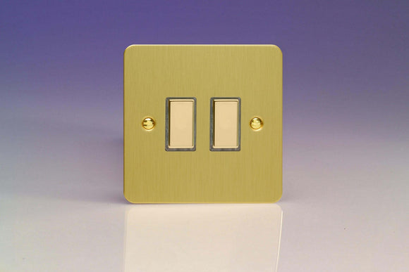 Varilight JFBES002 Ultraflat Brushed Brass 2-Gang Tactile Touch Control Dimming Slave for use with Multi-Point Touch or Remote Master on 2-Way Circuits