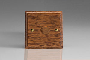 Varilight JK1MO Kilnwood Medium Oak 1-Gang 2-Way Push-On/Off Rotary LED Dimmer 1 x 0-120W (1-10 LEDs)