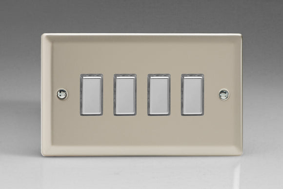 Varilight JNES004 Classic Satin Chrome 4-Gang Tactile Touch Control Dimming Slave for use with Multi-Point Touch or Remote Master on 2-Way Circuits (Twin Plate)