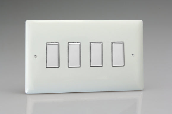Varilight JOT104C White White Plastic 4-Gang Multi-Way Touch Master LED Dimmer 4 x 0-100W (1-10 LEDs) (Twin Plate)