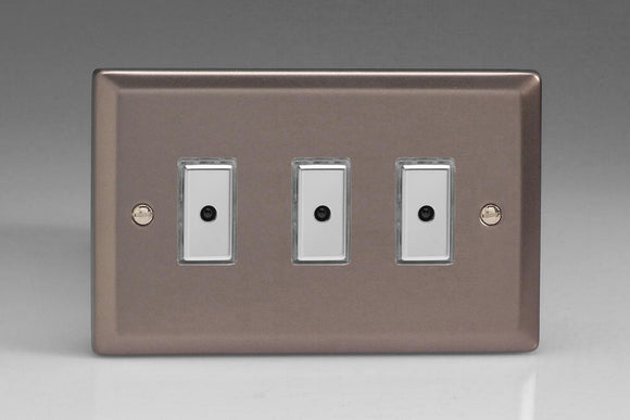 Varilight JRE103 Classic Pewter 3-Gang Multi-Way Remote/Tactile Touch Control Master LED Dimmer 3 x 0-100W (1-10 LEDs)