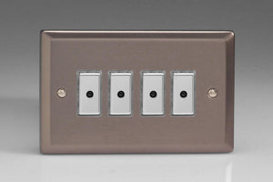 Varilight JRE104 Classic Pewter 4-Gang Multi-Way Remote/Tactile Touch Control Master LED Dimmer 4 x 0-100W (1-10 LEDs)