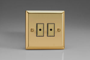 Varilight JVE102 Classic Victorian Brass 2-Gang Multi-Way Remote/Tactile Touch Control Master LED Dimmer 2 x 0-100W (1-10 LEDs)