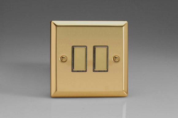 Varilight JVES002 Classic Victorian Brass 2-Gang Tactile Touch Control Dimming Slave for use with Multi-Point Touch or Remote Master on 2-Way Circuits