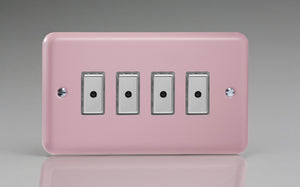 Varilight JYE104.RP Lily Rose Pink 4-Gang Multi-Way Remote/Tactile Touch Control Master LED Dimmer 4 x 0-100W (1-10 LEDs)