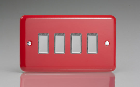 Varilight JYES004.PR Lily Pillar Box Red 4-Gang Tactile Touch Control Dimming Slave for use with Multi-Point Touch or Remote Master on 2-Way Circuits (Twin Plate)