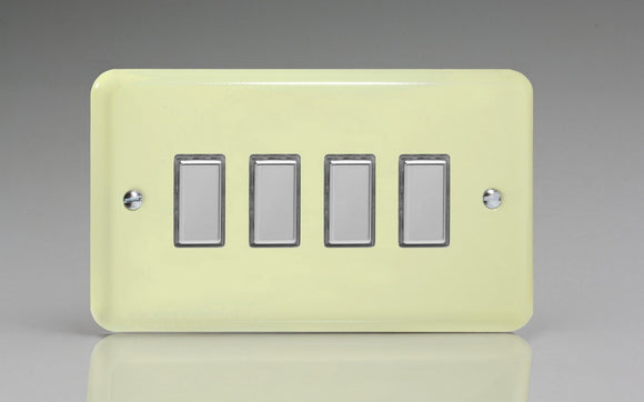 Varilight JYES004.WC Lily White Chocolate 4-Gang Tactile Touch Control Dimming Slave for use with Multi-Point Touch or Remote Master on 2-Way Circuits (Twin Plate)