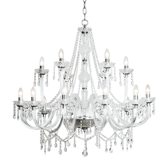Katie 18 Light Chandelier Dual Mount Acrylic Glass