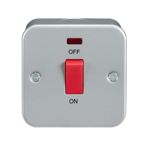 ML Accessories-M8331N Metal Clad 45A DP Switch with Neon - Single Size