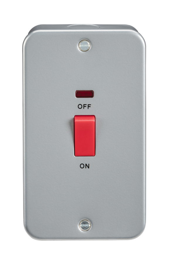 ML Accessories-M8332N Metal Clad 45A DP Switch with Neon - Large Plate