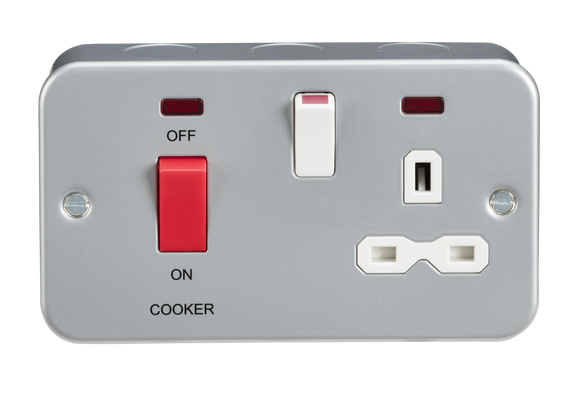 ML Accessories-MR8333N Metal Clad 2G 45A DP Cooker Switch and 13A Switched Socket with Neons