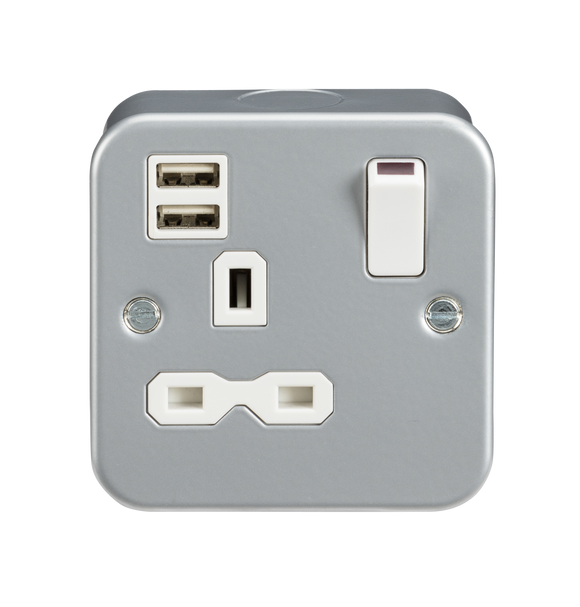 ML Accessories-MR9124 Metal Clad 13A 1G Switched Socket with Dual USB Charger (2.4A)