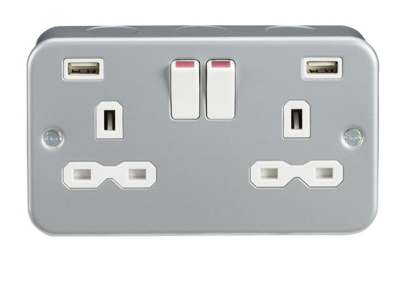 ML Accessories-MR9224 Metal Clad 13A 2G Switched Socket with Dual USB Charger (2.4A)