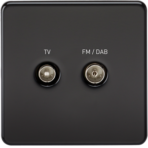 ML Accessories-SF0160MB Screwless Screened Diplex Outlet (TV & FM DAB) - Matt Black
