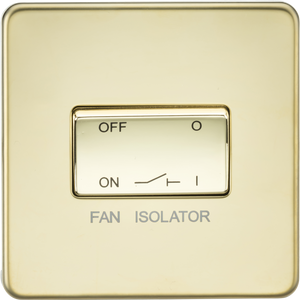 ML Accessories-SF1100PB Screwless 10AX 3 Pole Fan Isolator Switch - Polished Brass
