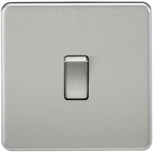 ML Accessories-SF2000BC Screwless 10AX 1G 2-Way Switch - Brushed Chrome