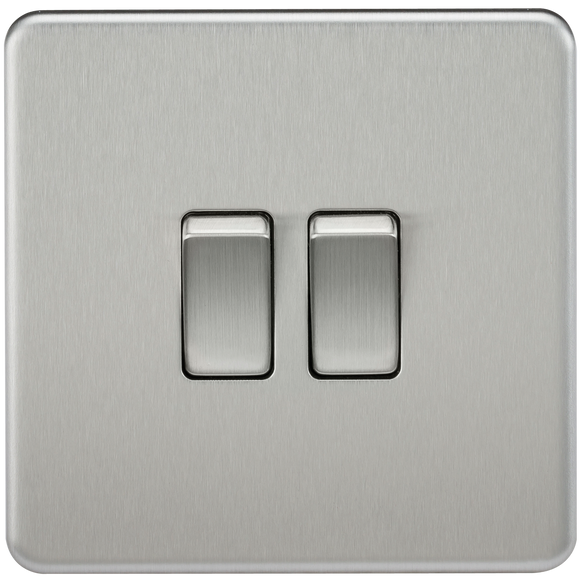 ML Accessories-SF3000BC Screwless 10AX 2G 2-Way Switch - Brushed Chrome