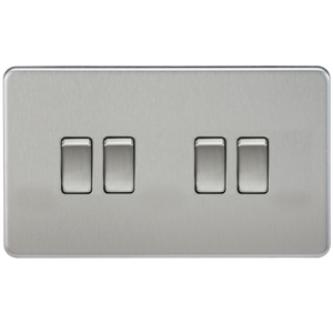 ML Accessories-SF4100BC Screwless 10AX 4G 2-Way Switch - Brushed Chrome