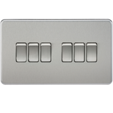 ML Accessories-SF4200BC Screwless 10AX 6G 2-way Switch - Brushed Chrome