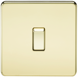 ML Accessories-SF8341PB Screwless 20A 1G DP Switch - Polished Brass