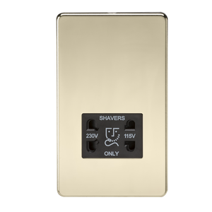 ML Accessories-SF8900PB Screwless 115V/230V Dual Voltage Shaver Socket - Polished Brass