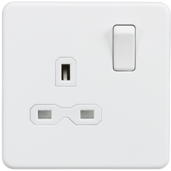 ML Accessories-SFR7000MW Screwless 13A 1G DP switched socket - Matt white with white insert