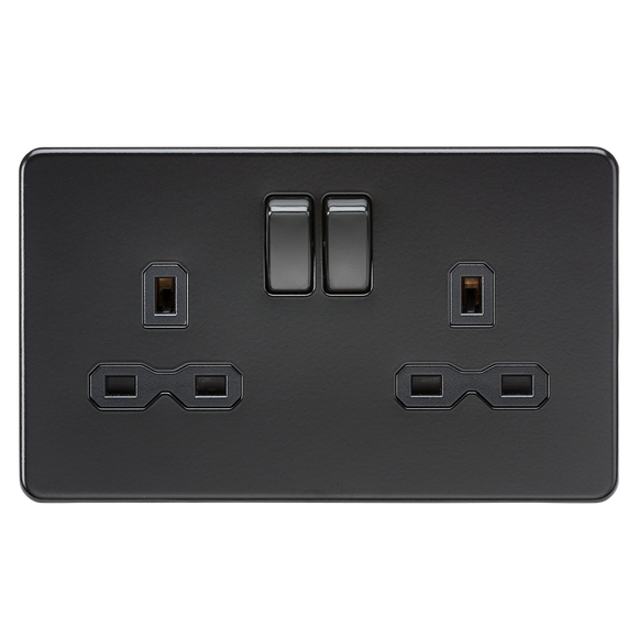 ML Accessories-SFR9000MBB Screwless 13A 2G DP switched socket - matt black with black insert
