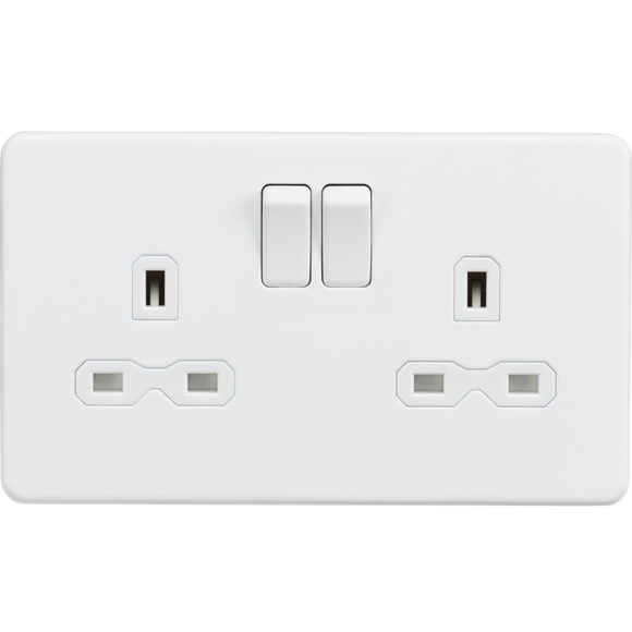 ML Accessories-SFR9000MW Screwless 13A 2G DP switched socket - Matt white