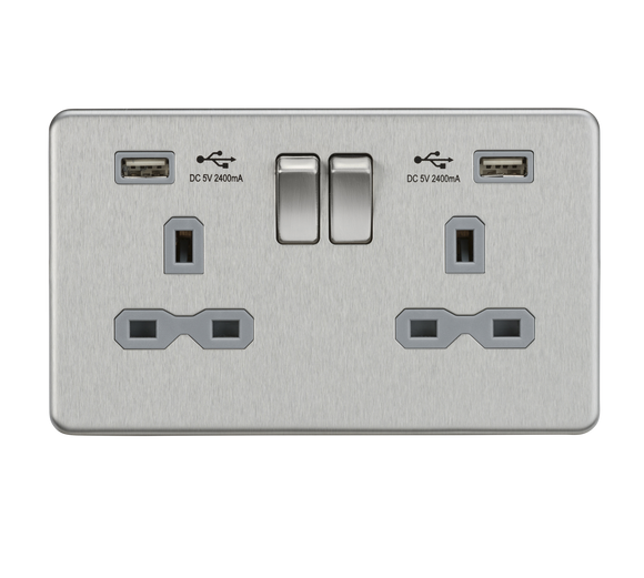 ML Accessories-SFR9224BCG 13A 2G Switched Socket with Dual USB Charger (2.4A) - Brushed Chrome with Grey Insert