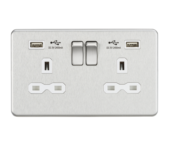ML Accessories-SFR9224BCW 13A 2G Switched Socket with Dual USB Charger (2.4A) - Brushed Chrome with White Insert