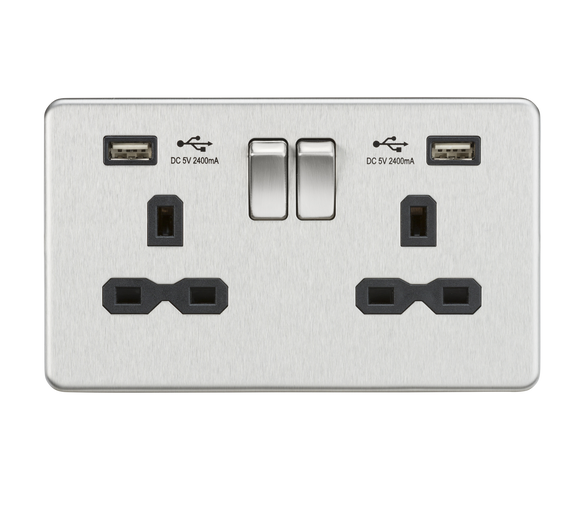 ML Accessories-SFR9224BC 13A 2G Switched Socket with Dual USB Charger (2.4A) - Brushed Chrome with Black Insert