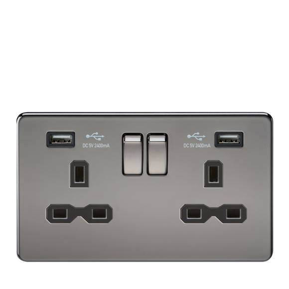 ML Accessories-SFR9224BN 13A 2G Switched Socket with Dual USB Charger (2.4A) - Black Nickel with Black Insert
