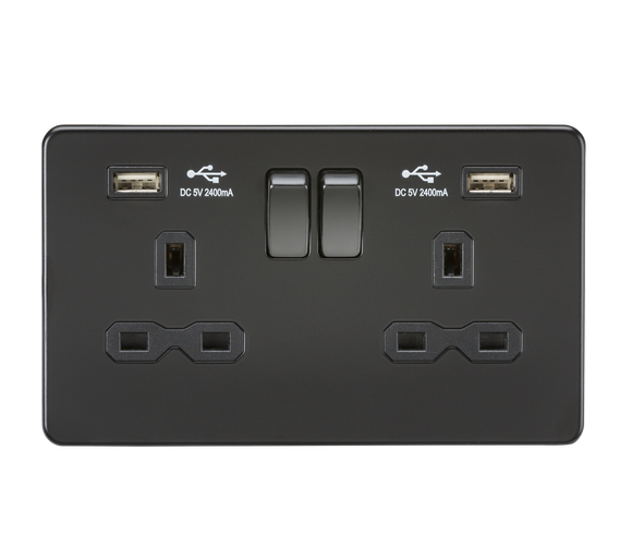 ML Accessories-SFR9224MBB 13A 2G Switched Socket with Dual USB Charger (2.4A) - Matt Black