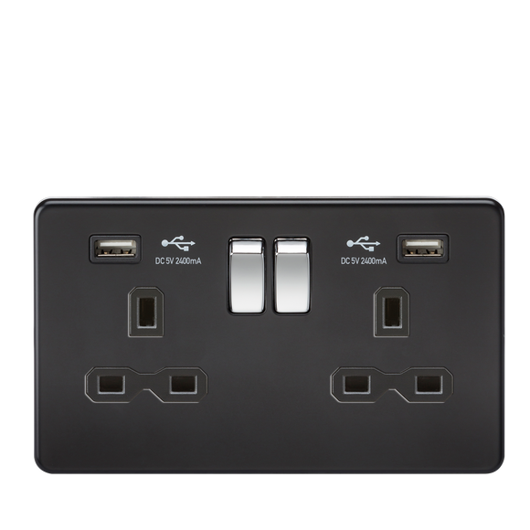 ML Accessories-SFR9224MB 13A 2G Switched Socket with Dual USB Charger (2.4A) - Matt Black with Chrome Rockers