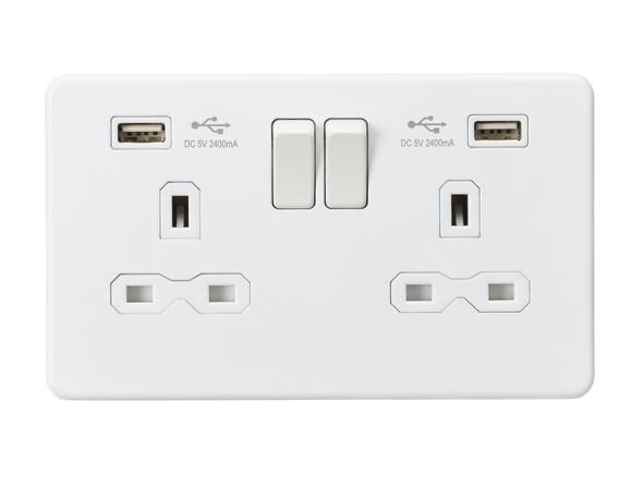 ML Accessories-SFR9224MW 13A 2G Switched Socket with Dual USB Charger (2.4A) - Matt White