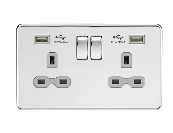 ML Accessories-SFR9224PCG 13A 2G Switched Socket with Dual USB Charger (2.4A) - Polished Chrome with Grey Insert
