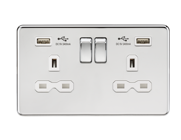 ML Accessories-SFR9224PCW 13A 2G Switched Socket with Dual USB Charger (2.4A) - Polished Chrome with  White Insert