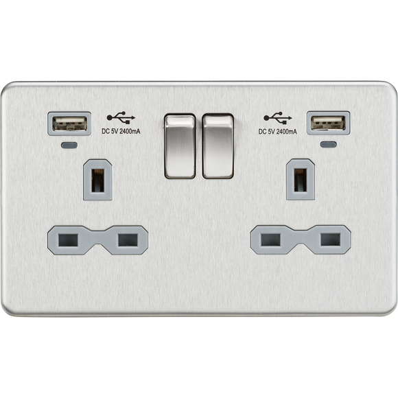 ML Accessories-SFR9904NBCG 13A 2G Switched Socket, Dual USB (2.4A) with LED Charge Indicators - Brushed Chrome w/grey insert