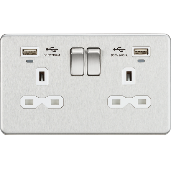 ML Accessories-SFR9904NBCW 13A 2G Switched Socket, Dual USB (2.4A) with LED Charge Indicators - Brushed Chrome w/white insert