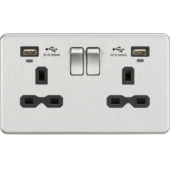 ML Accessories-SFR9904NBC 13A 2G Switched Socket, Dual USB (2.4A) with LED Charge Indicators - Brushed Chrome w/black insert