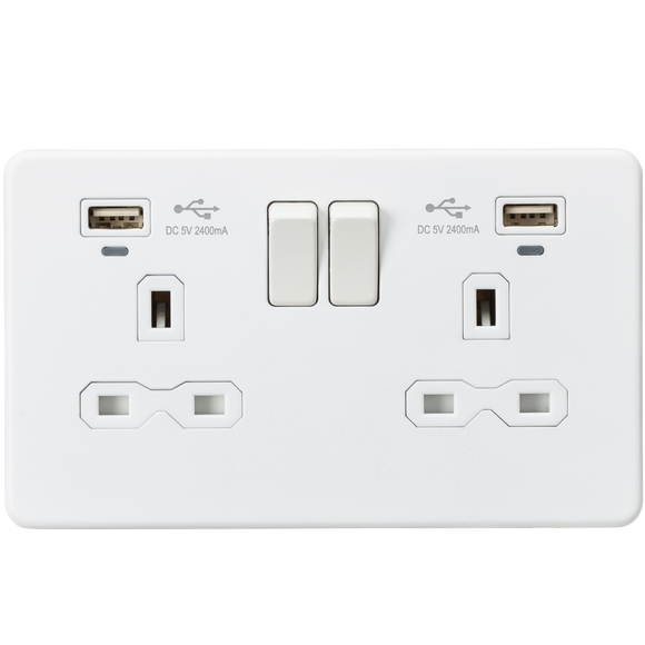 ML Accessories-SFR9904NMW 13A 2G Switched Socket, Dual USB (2.4A) with LED Charge Indicators - Matt White