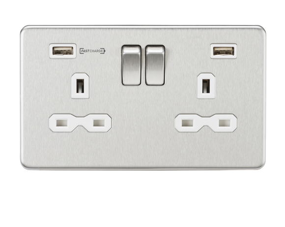 ML Accessories-SFR9906BCW 13A 2G DP Switched Socket with Dual USB Charger (Type-A FASTCHARGE port) - Brushed Chrome/White