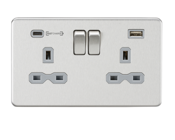 ML Accessories-SFR9907BCG 13A 2G DP Switched Socket with Dual USB Charger (Type-C FASTCHARGE port) - Brushed Chrome/Grey