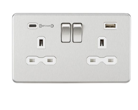 ML Accessories-SFR9907BCW 13A 2G DP Switched Socket with Dual USB Charger (Type-C FASTCHARGE port) - Brushed Chrome/White