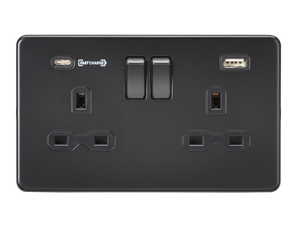 ML Accessories-SFR9907MBB 13A 2G DP Switched Socket with Dual USB Charger (Type-C FASTCHARGE port) - Matt Black