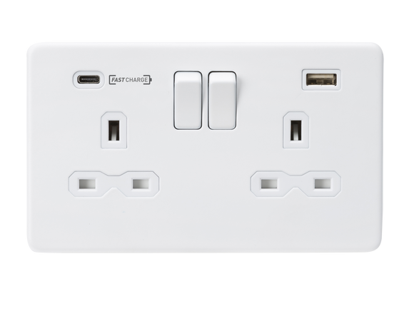 ML Accessories-SFR9907MW 13A 2G DP Switched Socket with Dual USB Charger (Type-C FASTCHARGE port) - Matt White