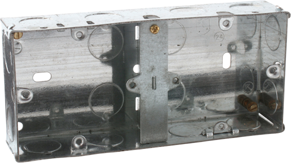 ML Accessories-SG235D 2G 35mm Dual Galvanised Steel Box with fixed lug and two brass terminals
