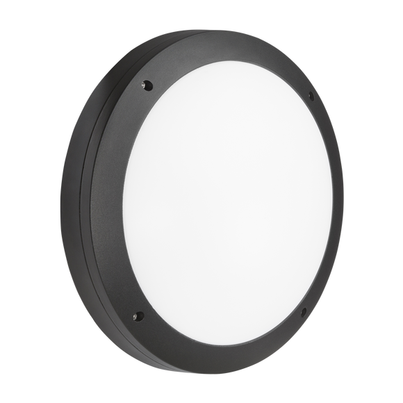 ML Accessories-SHE1BEMS 230V IP65 18W LED Round Bulkhead CCT with Emergency & Microwave Sensor Black